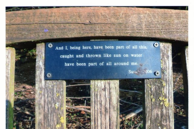 Bench plaque..And I being here.......
