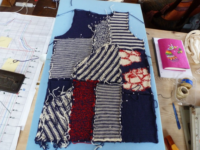 Valbonne blocked and ready to be sewn together