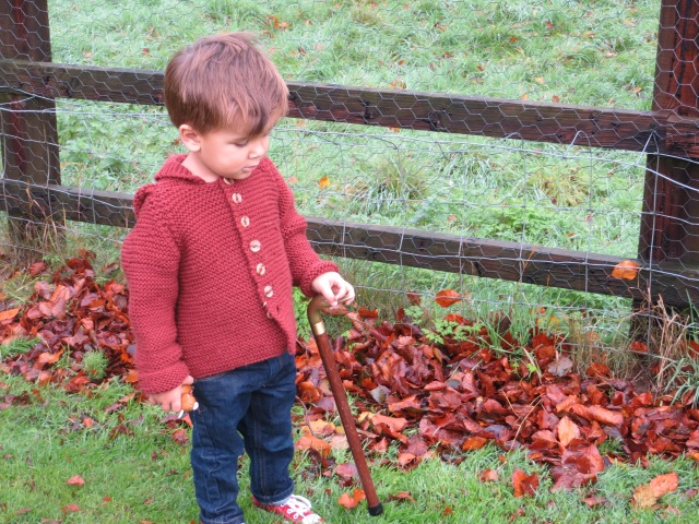 Marcel wearing 'William' coat, with his 'just like Grandpa's walking stick'